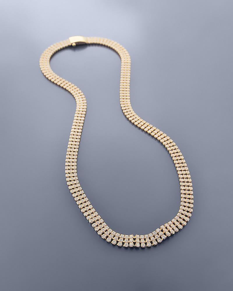 Κολιέ χρυσό K14 με Ζιργκόν   γαμοσ σετ κοσμήματα