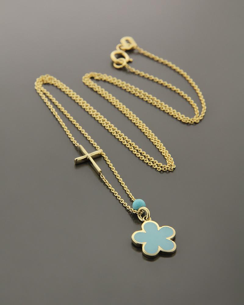 Κολιέ σταυρός και μαργαρίτα χρυσό K14 με Σμάλτο   γυναικα κρεμαστά κολιέ κρεμαστά κολιέ χρυσά