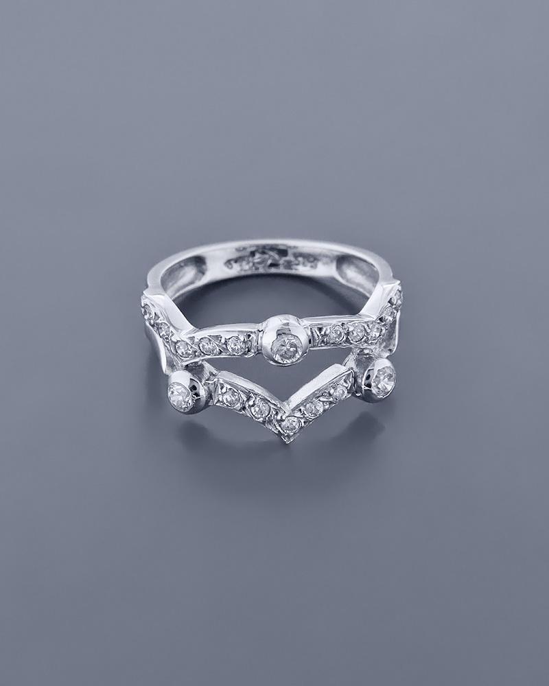 Δαχτυλίδι λευκόχρυσο Κ14 με Ζιργκόν   ζησε το μυθο σετ κοσμήματα