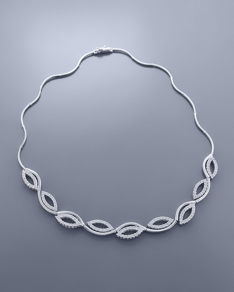 Κολιέ λευκόχρυσο Κ14 με Ζιργκόν   γαμοσ σετ κοσμήματα