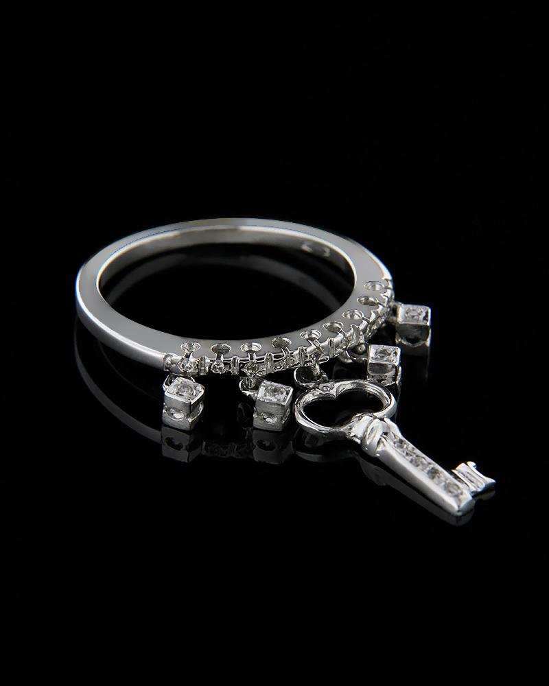 Δαχτυλίδι κλειδί λευκόχρυσο Κ18 με Διαμάντια   γυναικα δαχτυλίδια δαχτυλίδια λευκόχρυσα