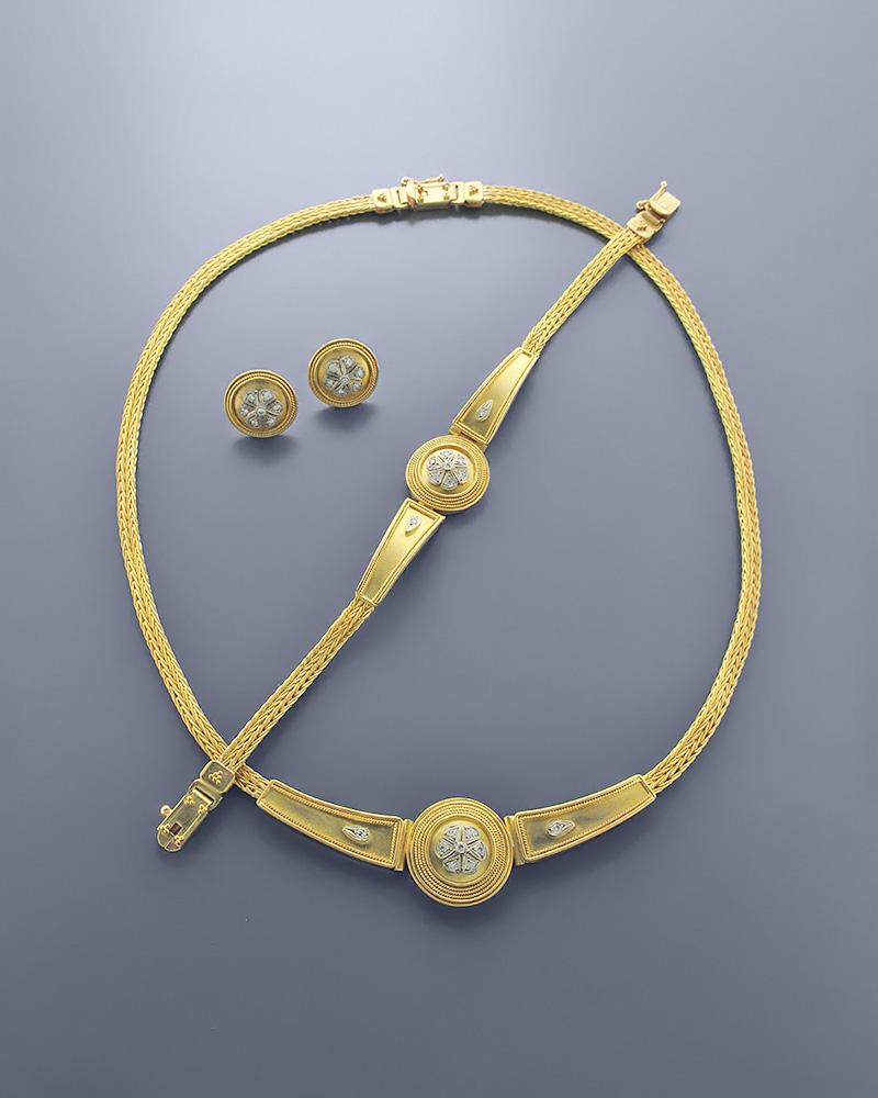 Γυναικείο Σετ χρυσό Κ18 με Ζιργκόν
