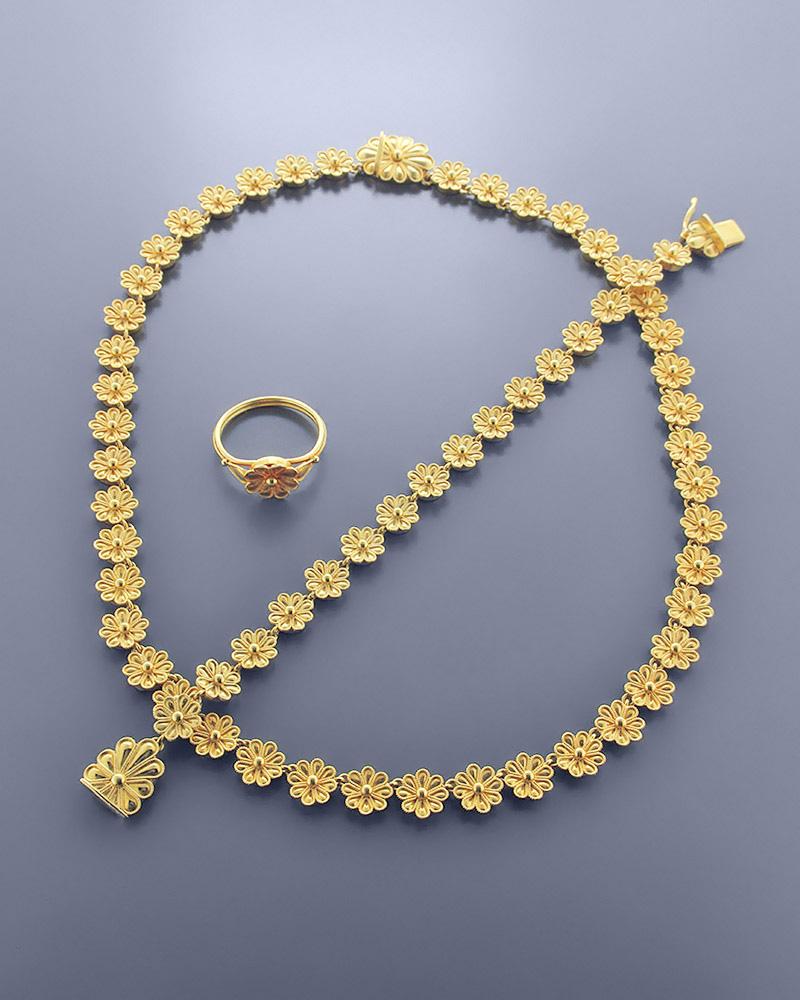 Γυναικείο Σετ χρυσό Κ18   ζησε το μυθο σετ κοσμήματα