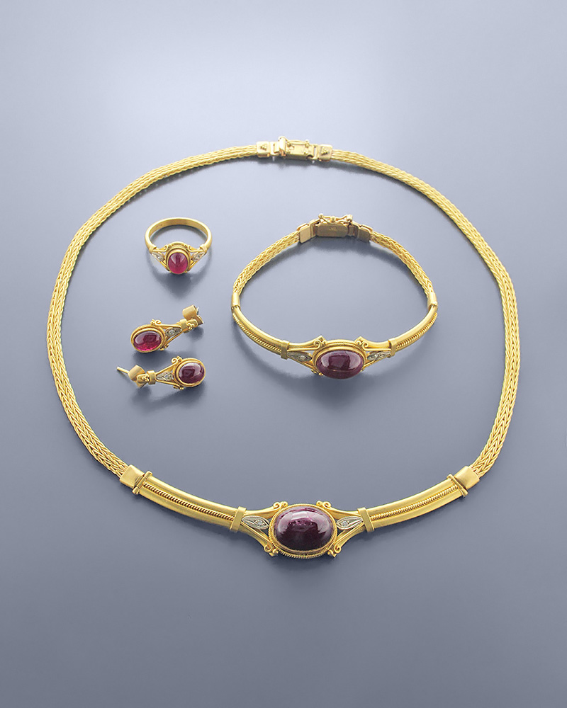 Γυναικείο Σετ χρυσό Κ22 με Ρουμπίνι & Ζιργκόν   γαμοσ σετ κοσμήματα