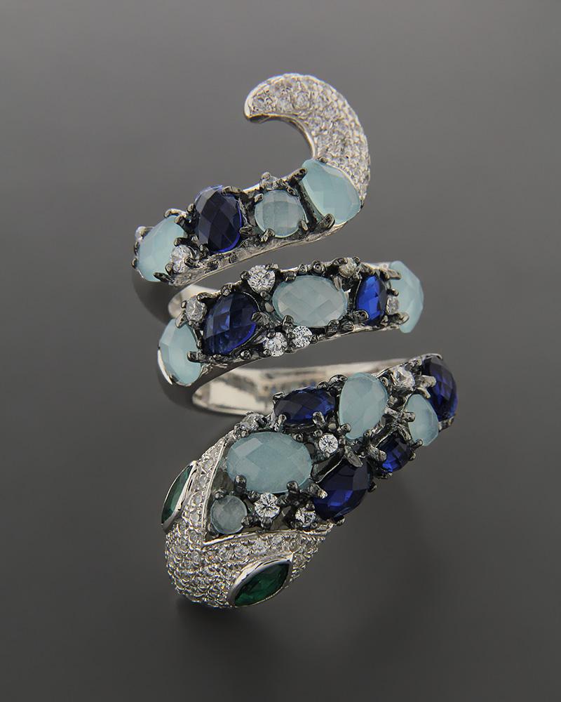 Ασημένιο δαχτυλίδι με Quartz & Ζιργκόν   κοσμηματα δαχτυλίδια δαχτυλίδια ημιπολύτιμοι λίθοι