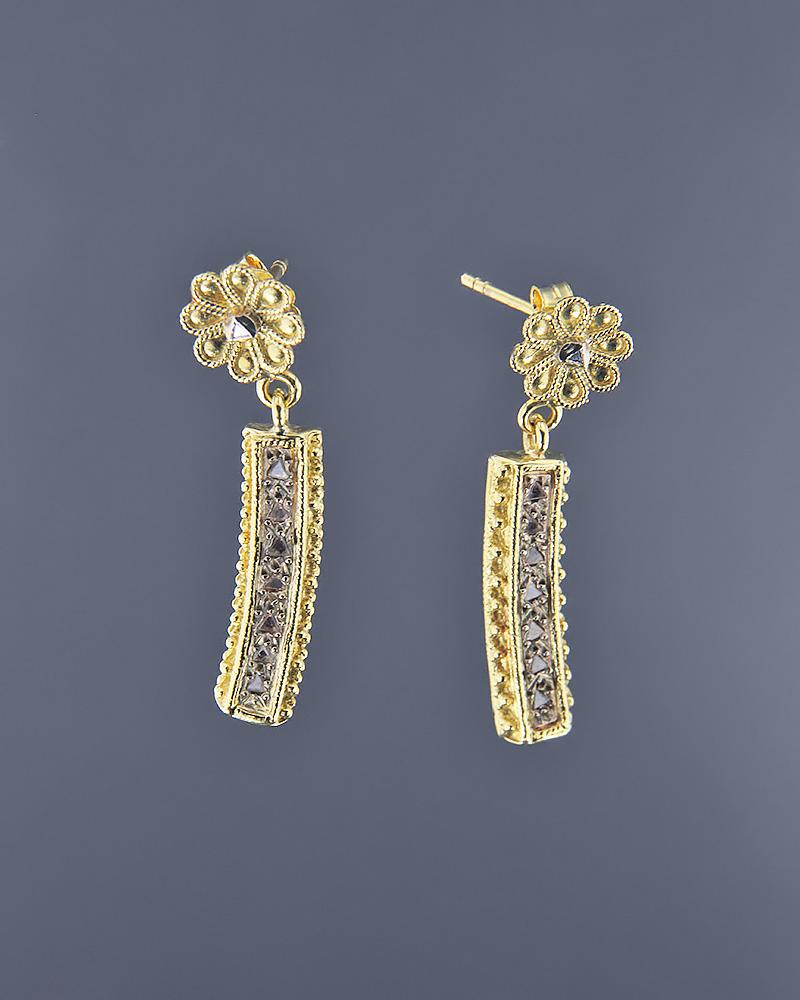 Σκουλαρίκια χρυσά Κ18 με Ζιργκόν   ζησε το μυθο σετ κοσμήματα