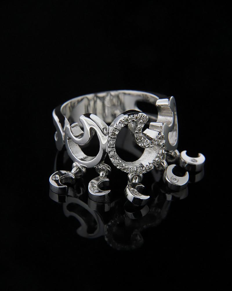 Δαχτυλίδι φεγγάρι λευκόχρυσο Κ18 με Διαμάντια   γυναικα δαχτυλίδια δαχτυλίδια λευκόχρυσα