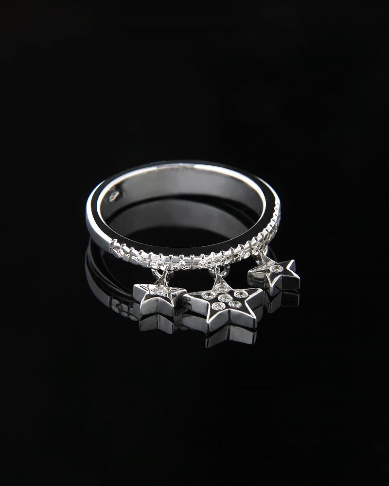Δαχτυλίδι αστεράκια λευκόχρυσο Κ18 με Διαμάντια   γυναικα δαχτυλίδια δαχτυλίδια λευκόχρυσα