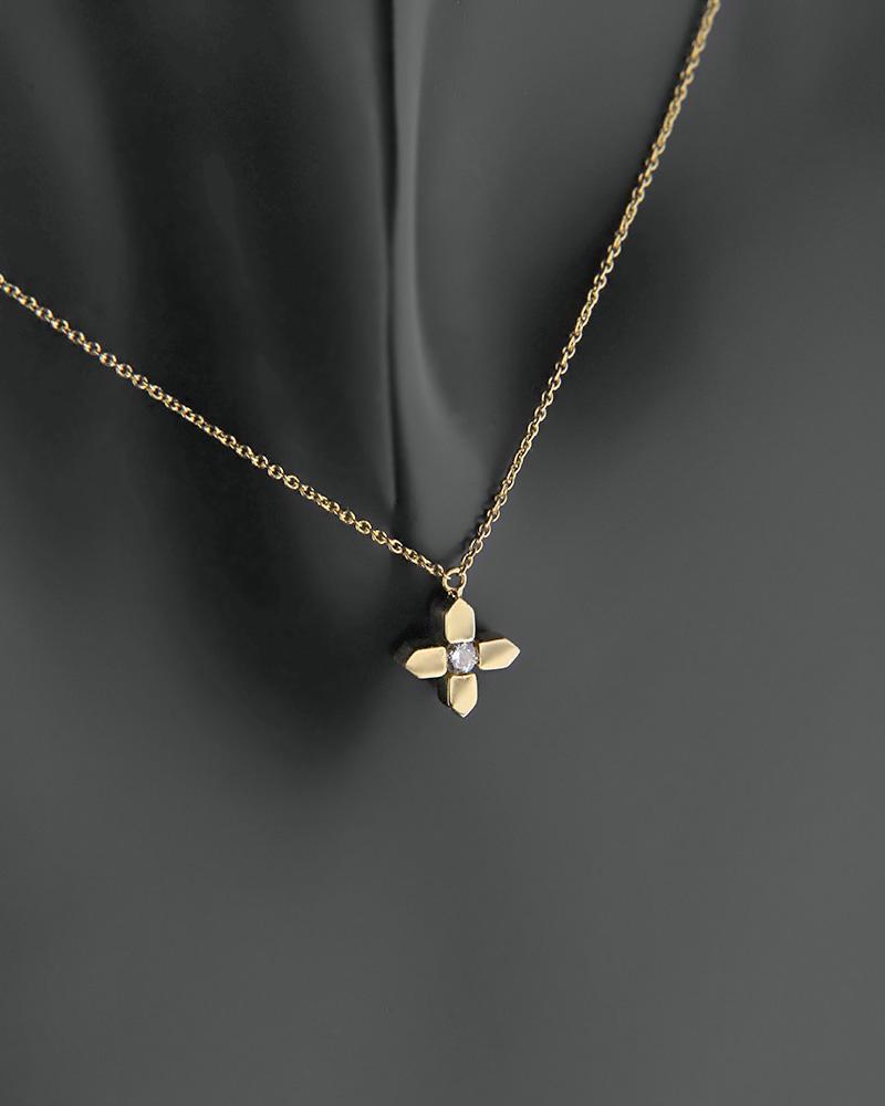 Κολιέ σταυρουδάκι χρυσό Κ18 με Διαμάντι   γυναικα κρεμαστά κολιέ κρεμαστά κολιέ διαμάντια