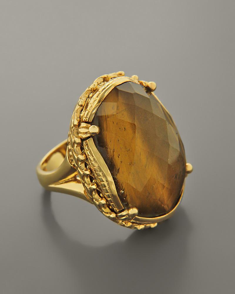 Δαχτυλίδι ασημένιο 925 με Μάτι Τίγρης   γυναικα δαχτυλίδια δαχτυλίδια ημιπολύτιμοι λίθοι