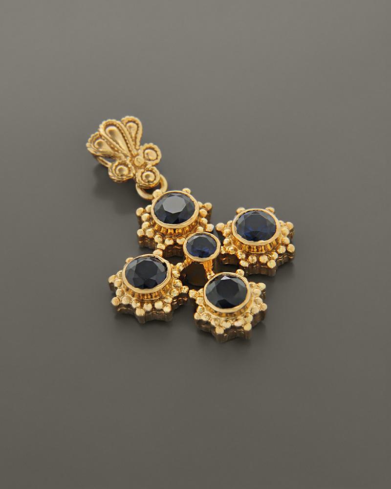 Σταυρός βυζαντινός ασημένιος 925 με ζιργκόν