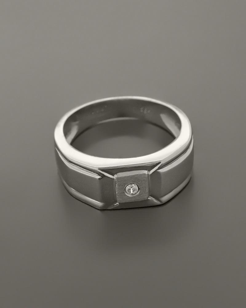 Δαχτυλίδι ανδρικό λευκόχρυσο Κ14 με Ζιργκόν
