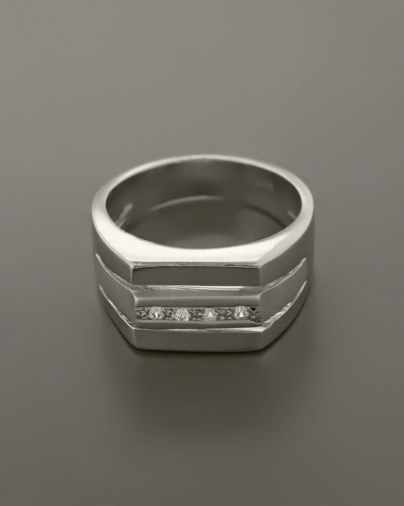 Δαχτυλίδι ανδρικό λευκόχρυσο Κ14 με Ζιργκόν   κοσμηματα δαχτυλίδια δαχτυλίδια ανδρικά