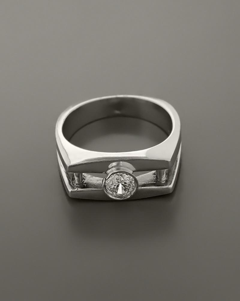 Δαχτυλίδι ανδρικό λευκόχρυσο Κ18 με Ζιργκόν   κοσμηματα δαχτυλίδια δαχτυλίδια ανδρικά