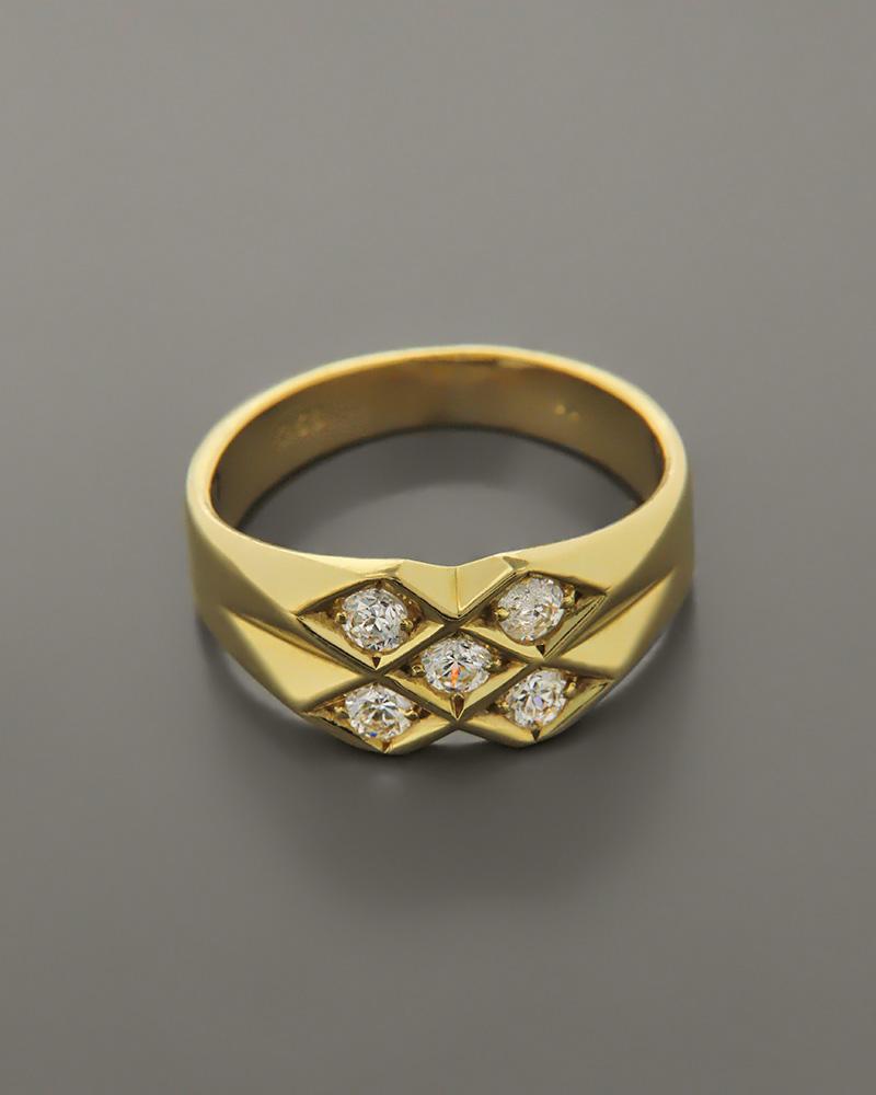 Δαχτυλίδι ανδρικό χρυσό Κ14 με Ζιργκόν   κοσμηματα δαχτυλίδια δαχτυλίδια ανδρικά