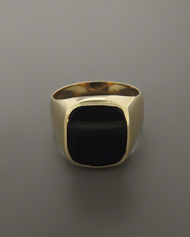 Δαχτυλίδι ανδρικό χρυσό Κ14 με Όνυχα