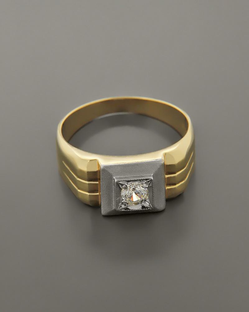 Δαχτυλίδι ανδρικό χρυσό & λευκόχρυσο Κ14 με Ζιργκόν   κοσμηματα δαχτυλίδια δαχτυλίδια ανδρικά