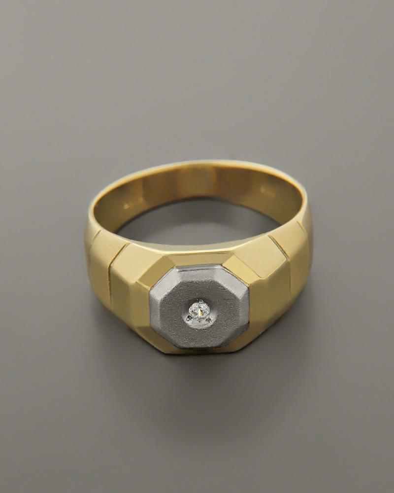 Δαχτυλίδι ανδρικό λευκόχρυσο & χρυσό Κ14 με Ζιργκόν   κοσμηματα δαχτυλίδια δαχτυλίδια ανδρικά