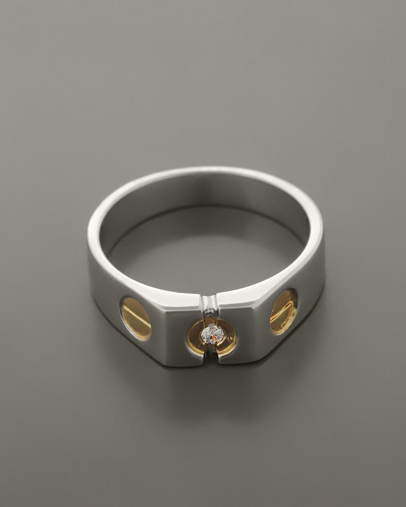 Δαχτυλίδι ανδρικό λευκόχρυσο   λευκό Κ14 με Ζιργκόν ... f88d8059b47