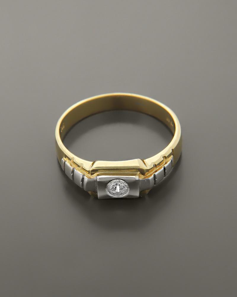 Δαχτυλίδι ανδρικό χρυσό & λευκόχρυσο Κ14 με Ζιργκόν