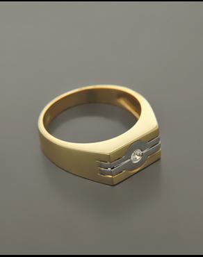 Δαχτυλίδι ανδρικό χρυσό   λευκόχρυσο Κ14 με Ζιργκόν 6320fd100fd