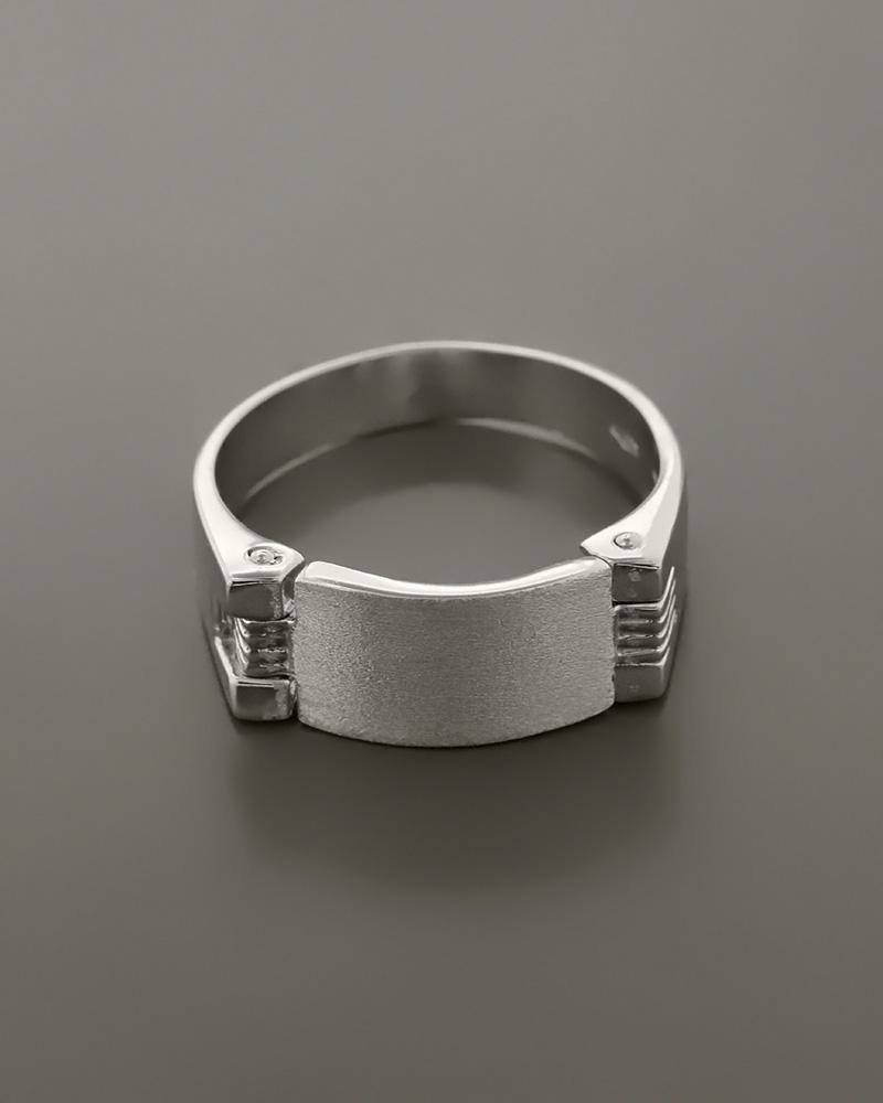 Δαχτυλίδι ανδρικό λευκόχρυσο Κ14