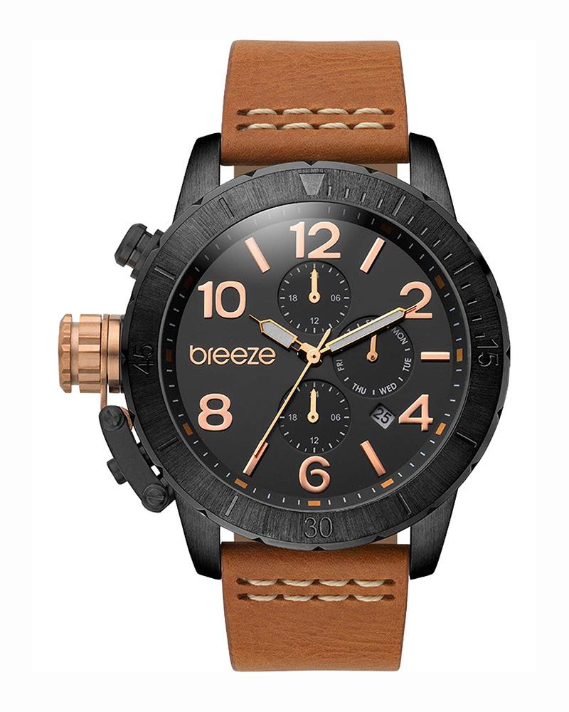 Ρολόι BREEZE Kryptonite Dual Time leather brown strap 110702.4   brands breeze
