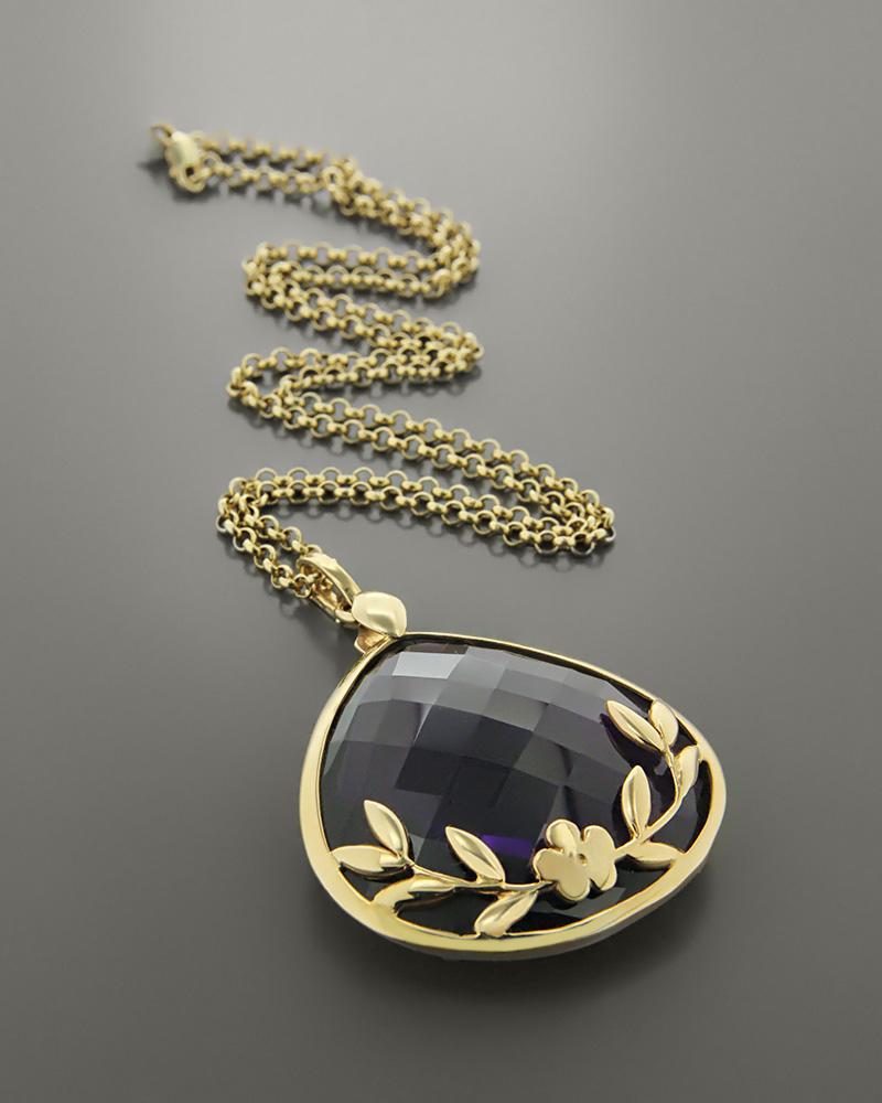 Μενταγιόν καρδιά χρυσό Κ14 με Αμέθυστο   νεεσ αφιξεισ κοσμήματα γυναικεία
