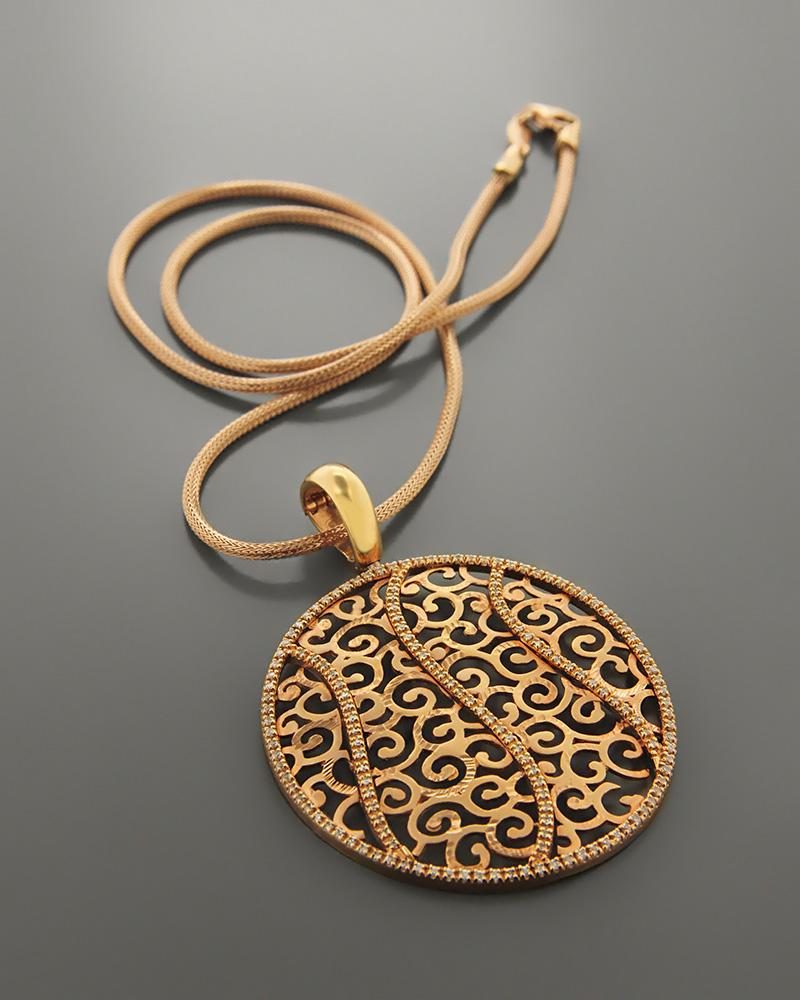 Μενταγιόν ροζ χρυσό Κ14 με Ζιργκόν   νεεσ αφιξεισ κοσμήματα γυναικεία