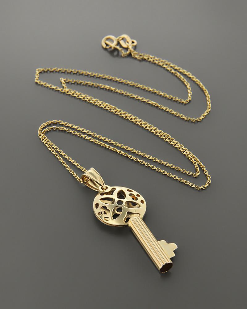 Μενταγιόν κλειδί χρυσό Κ14   γυναικα κρεμαστά κολιέ κρεμαστά κολιέ χρυσά