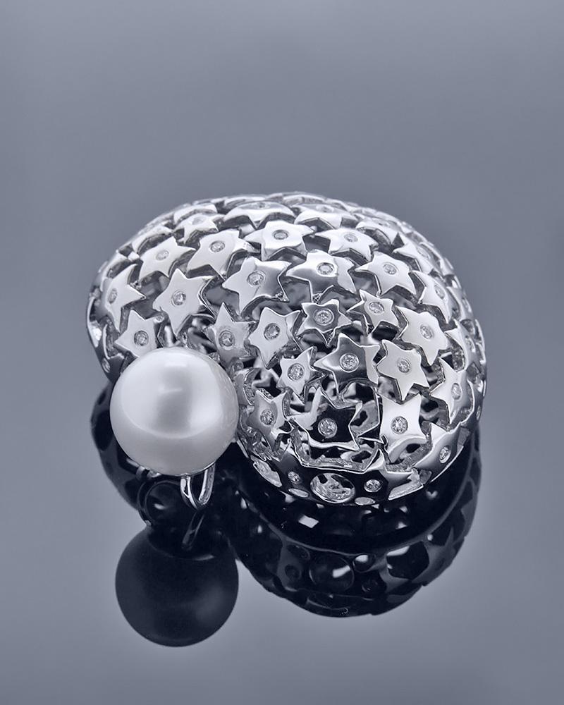 Μενταγιόν καρδιά λευκόχρυσο Κ18 με Διαμάντια & Μαργαριτάρι