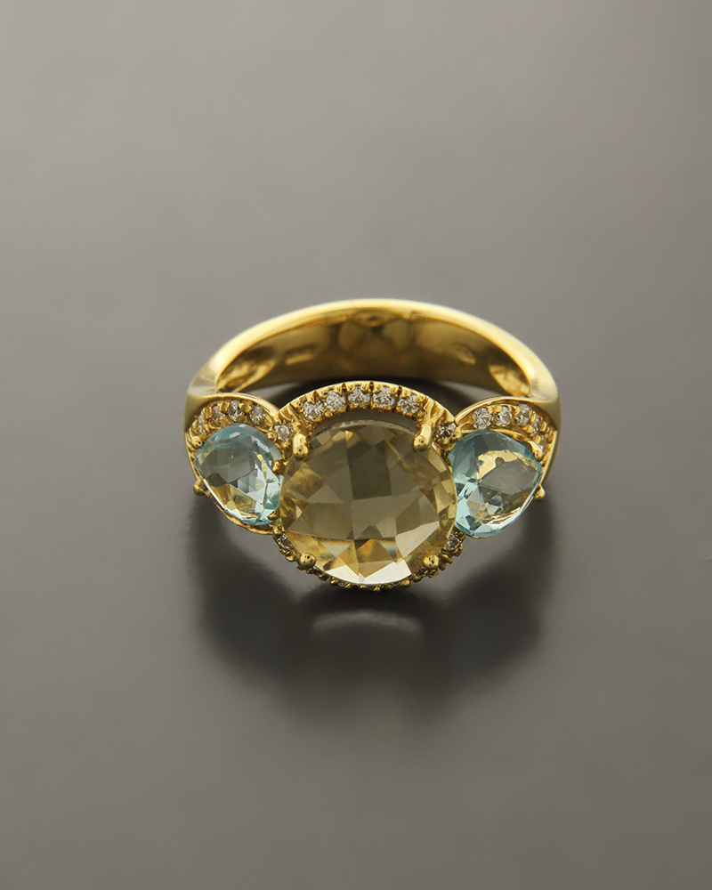 Δαχτυλίδι χρυσό Κ18 με Citrine & Τοπάζι   γυναικα δαχτυλίδια δαχτυλίδια ημιπολύτιμοι λίθοι