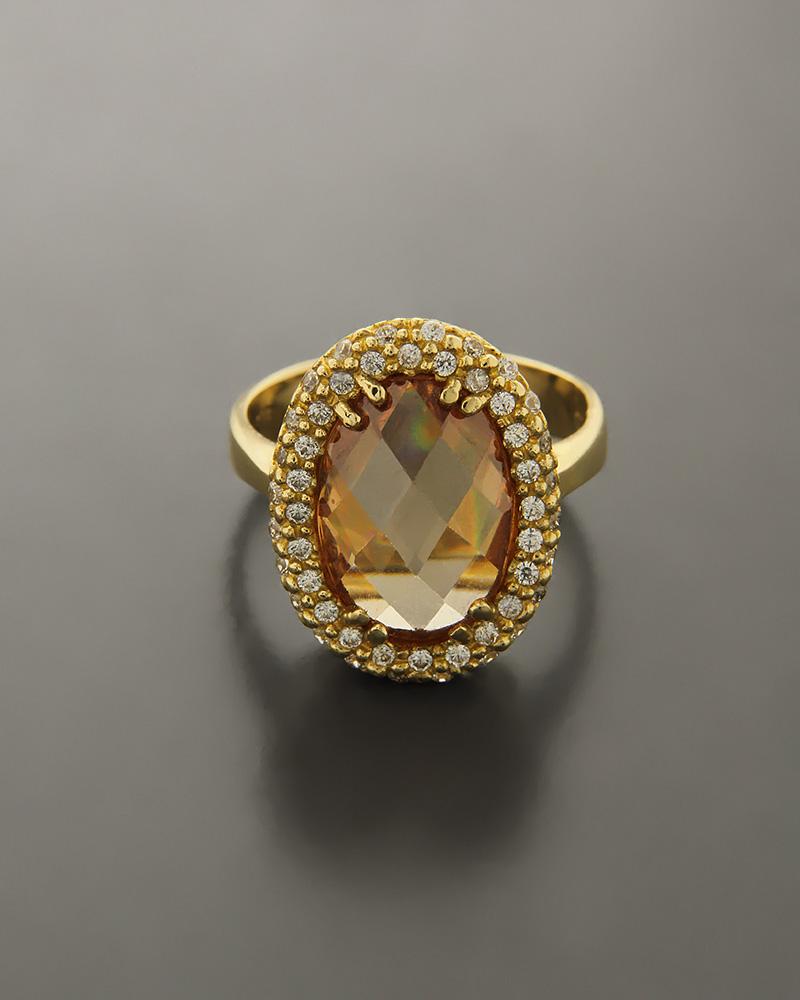 Δαχτυλίδι χρυσό Κ14 με Citrine & Ζιργκόν   γυναικα δαχτυλίδια δαχτυλίδια ημιπολύτιμοι λίθοι