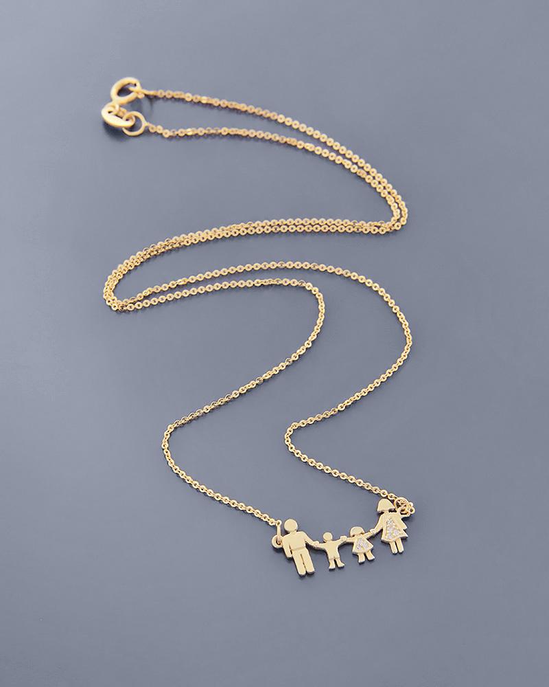 Κολιέ οικογένεια χρυσό Κ14 με Ζιργκόν   γυναικα κοσμήματα για τη μαμά