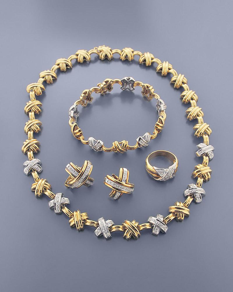 Γυναικείο σετ χρυσό & λευκόχρυσο Κ18 με Ζιργκόν   γαμοσ σετ κοσμήματα