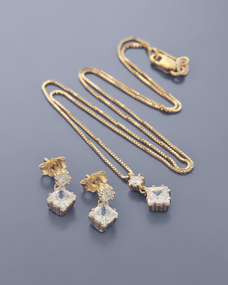 Γυναικείο σετ χρυσό Κ14 με Ζιργκόν   γαμοσ σετ κοσμήματα