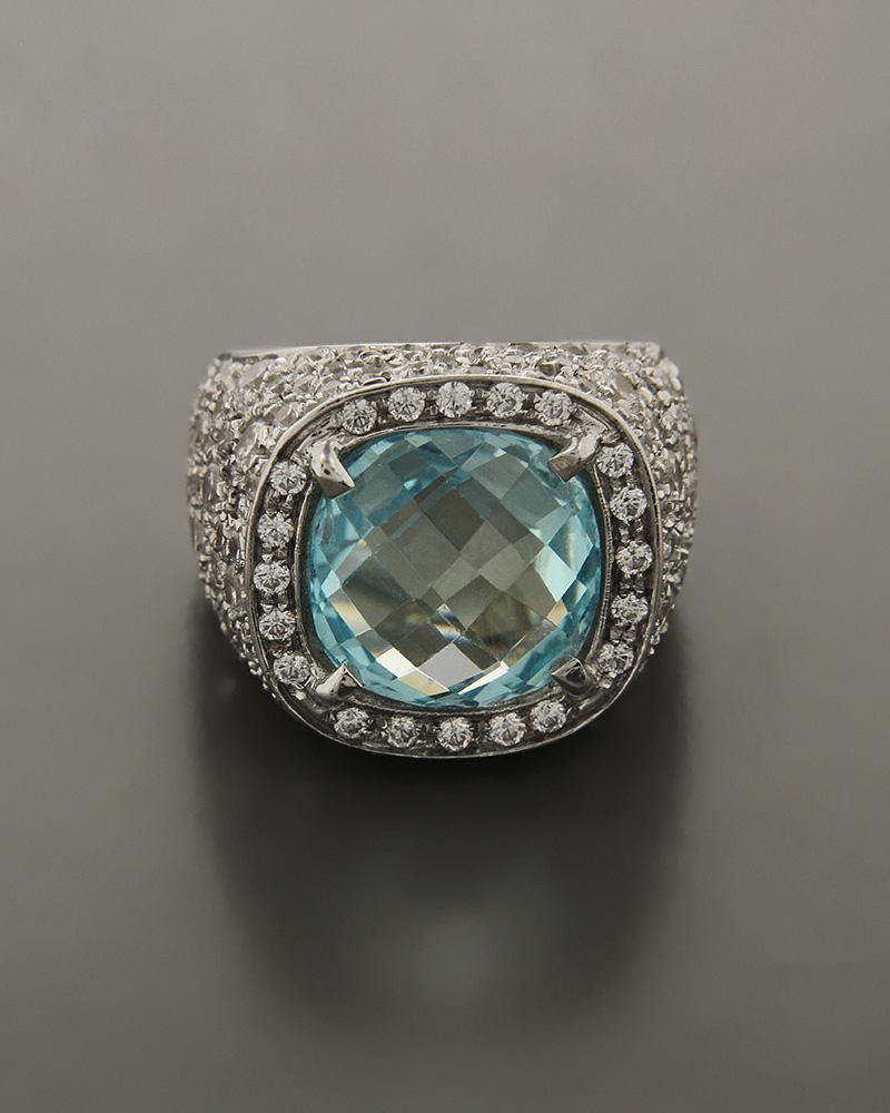Δαχτυλίδι λευκόχρυσο Κ18 με Ζιργκόν   γυναικα δαχτυλίδια δαχτυλίδια fashion
