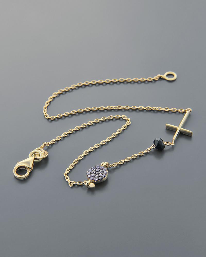 Βραχιόλι χρυσό Κ14 με Ζιργκόν   Όνυχα  b474835b4e9