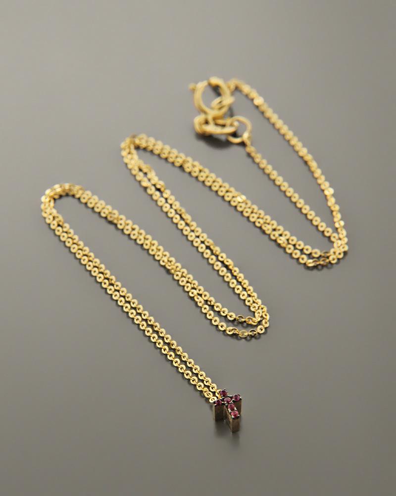 Κολιέ σταυρός χρυσό Κ14 με Ζιργκόν   γυναικα κρεμαστά κολιέ κρεμαστά κολιέ χρυσά