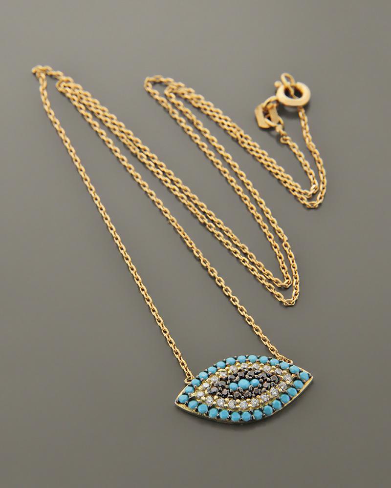 Κολιέ ματάκι χρυσό Κ14 με Ζιργκόν & Τυρκουάζ   κοσμηματα κοσμήματα με ματάκι
