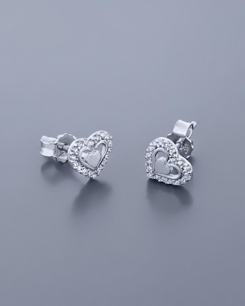 Σκουλαρίκια καρδιές λευκόχρυσα Κ14 με Ζιργκόν   γυναικα κοσμήματα με καρδιές