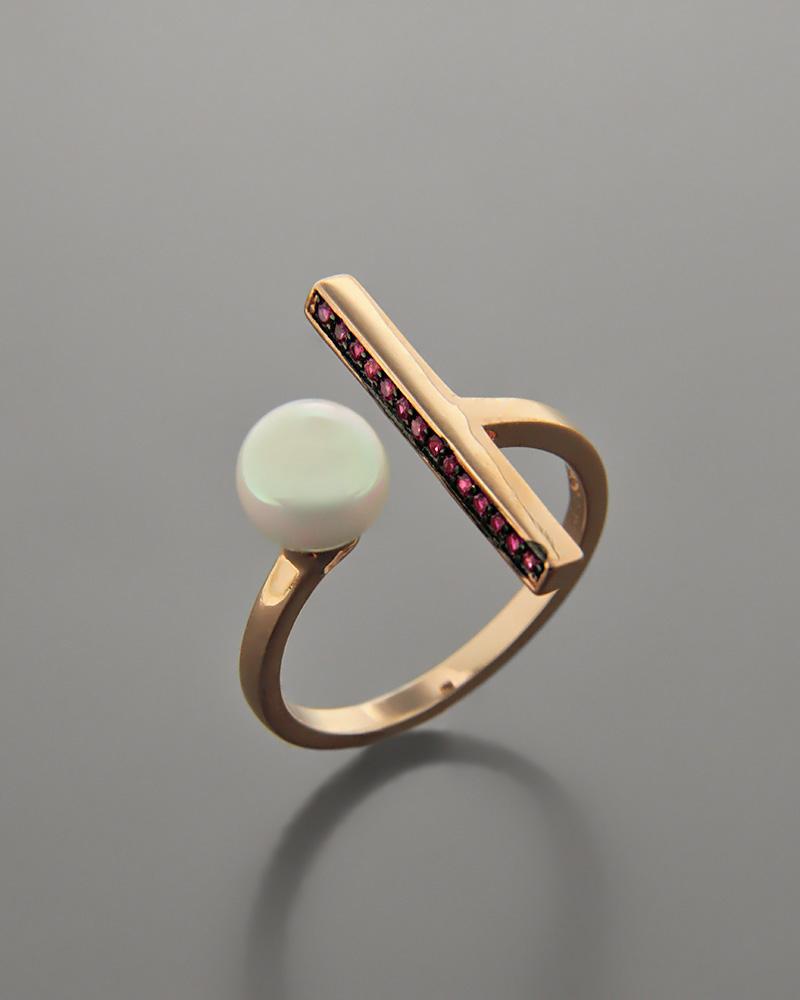 Δαχτυλίδι ασημένιο με Ζιργκόν και Πέρλα RS3059   γυναικα δαχτυλίδια δαχτυλίδια με μαργαριτάρια