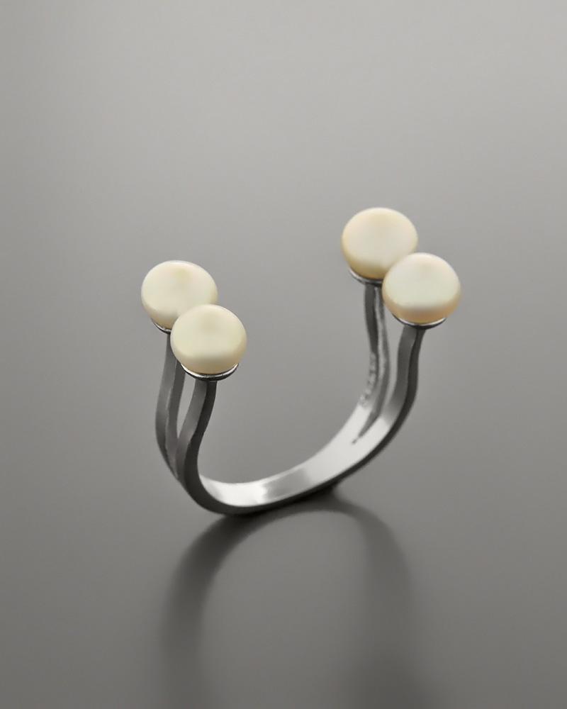 Δαχτυλίδι ασημένιο με Μαργαριτάρια   γυναικα δαχτυλίδια δαχτυλίδια ασημένια