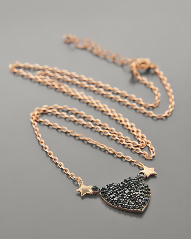 Κολιέ ασημένιο καρδιά με ζιργκόν ZN1035   γυναικα κοσμήματα με καρδιές