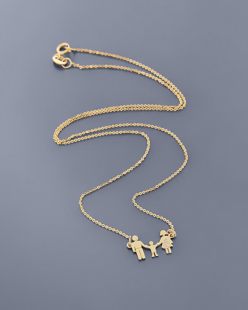 Κολιέ οικογένεια χρυσό K14 με ζιργκόν   γυναικα κοσμήματα για τη μαμά