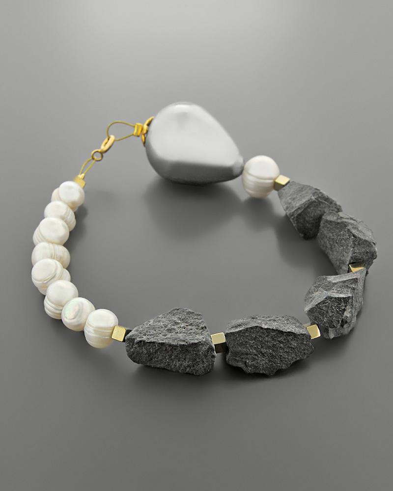Βραχιόλι από κράμα μετάλλων με Μαργαριτάρια & Oρυκτές Πέτρες   γυναικα βραχιόλια βραχιόλια ημιπολύτιμοι λίθοι