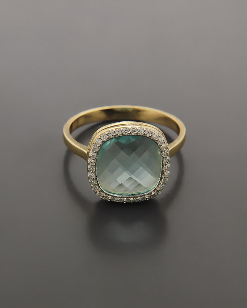 Δαχτυλίδι ροζ χρυσό Κ14 με Ζιργκόν και Ημιπολύτιμο λίθο   γυναικα δαχτυλίδια δαχτυλίδια ημιπολύτιμοι λίθοι
