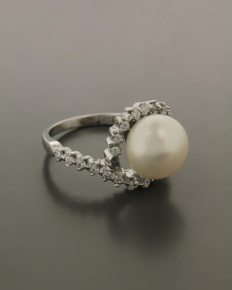 Δαχτυλίδι λευκόχρυσο Κ14 με Μαργαριτάρι και Ζιργκόν   γυναικα δαχτυλίδια δαχτυλίδια με μαργαριτάρια