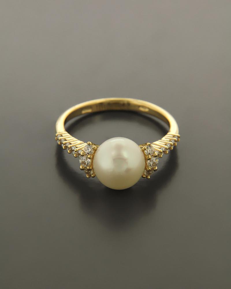 Δαχτυλίδι χρυσό Κ14 με Μαργαριτάρι και Ζιργκόν   γυναικα δαχτυλίδια δαχτυλίδια με μαργαριτάρια