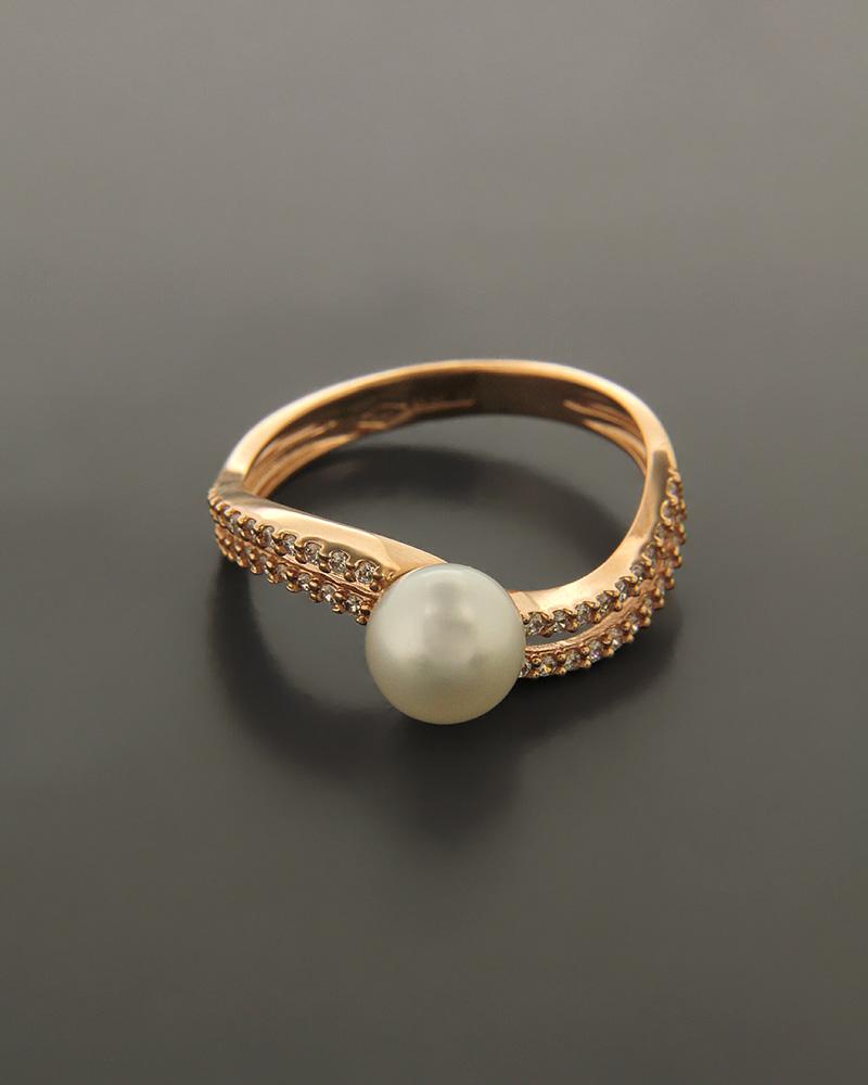Δαχτυλίδι ροζ χρυσό Κ14 με Μαργαριτάρι και Ζιργκόν   γυναικα δαχτυλίδια δαχτυλίδια με μαργαριτάρια